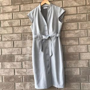 Grey Button Front Belted Dress Calvin Klein